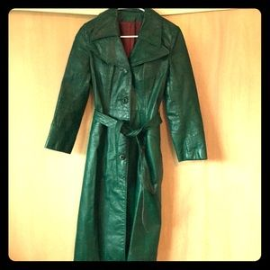 Jackets & Blazers - Vintage Emerald Green Leather Trench Coat